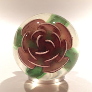 Signed Pete Lewis Vintage Art Glass Paperweight Footed Millville Crimp Rose