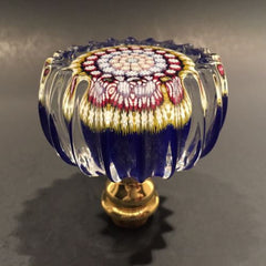 Perthshire Art Glass Paperweight Scalloped Edge Doorknob Concentric Millefiori