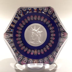St. Louis Sulphide Statue of Liberty Millefiori Art Glass Paperweight c. 1986