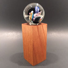 Unsigned Josh Simpson Art Glass Marble Inhabited Planet & Wood Stand