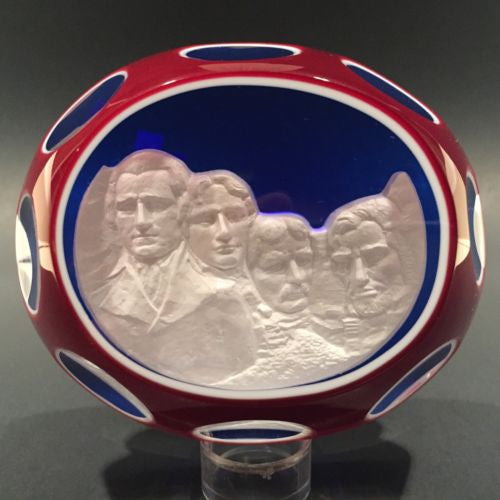 "Huge 4"" Baccarat Art Glass Paperweight Double Overlay Mount Rushmore Sulphide"