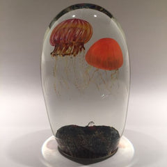 Rare Richard Satava Art Glass Paperweight Two Species Double Jellyfish Sculpture
