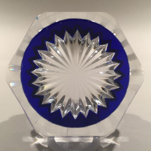 Vintage Baccarat Art Glass Paperweight Multi Faceted Star Cut Cobalt Blue Base