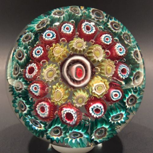 Vintage Murano Large Art Glass Paperweight Concentric millefiori