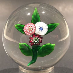Rare Antique Clichy Art Glass Paperweight Lampworked Millefiori Nosegay Bouquet