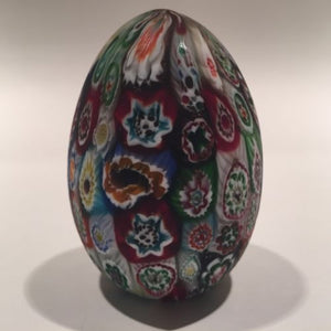 Medium Murano Art Glass Paperweight Egg Shaped Close Packed Millefiori