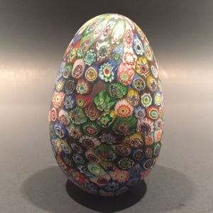 Large Murano Art Glass Paperweight Egg Shaped Close Packed Millefiori