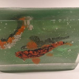 Unusual Vintage Slag Glass Frit Koi Fish Art Glass Paperweight Block