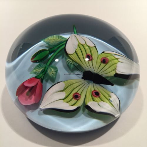 Rare Saint Louis Art Glass Paperweight Lampworked Butterfly And Rose c. 1989