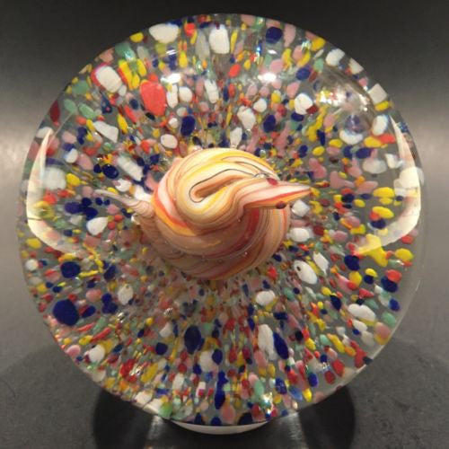 Vintage Degenhart? Art Glass Paperweight Coiled Snake on Multicolored Ground