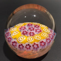 Vintage Murano Art Glass Paperweight Concentric Millefiori On White