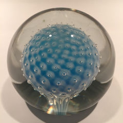 Large Murano Art Glass Paperweight Encased Sphere w/ Control Bubbles