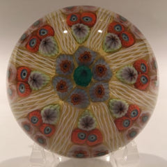 Vintage Strathearn Art Glass Paperweight 8 Spoke Millefiori Latticino on Yellow