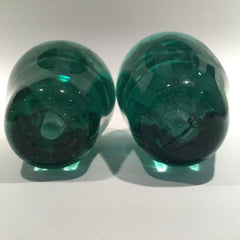 Two Large Antique English Green Bottle Dump Art Glass Paperweights Foil Flowers