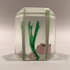 Early Chinese Art Glass Paperweight Faceted Fish Tank Aquarium