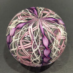 Vintage Signed Murano Art Glass Paperweight Purple & White Crown