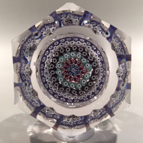 Whitefriars Art Glass Paperweight Concebtric Millefiori & Fancy Facets