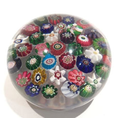 Antique Clichy Art Glass Paperweight 37 Spaced Complex Millefiori With Rose Cane