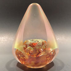Signed Solstice Studios Art Glass Paperweight Modern Faceted Cone