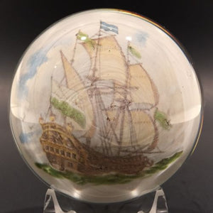 Vintage Murano Art Glass Paperweight Encased Pirate Clipper Ship Appliqué