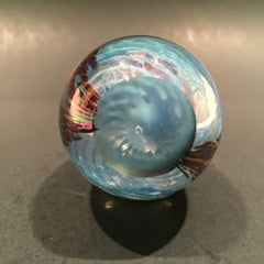 Signed Mt. St. Helens Ash MSH Art Glass Paperweight Purple Iridescent Egg