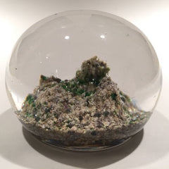 Antique Baccarat Art Glass Paperweight Rock / Sand Dune Moss Ground