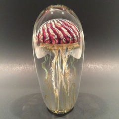 "Signed 6"" Satava Art Glass paperweight Purple Ribbed Jellyfish Sculpture"