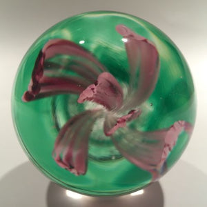 Vintage Elwood Indiana American Studio Art Glass Paperweight Crimp Pink Tulip