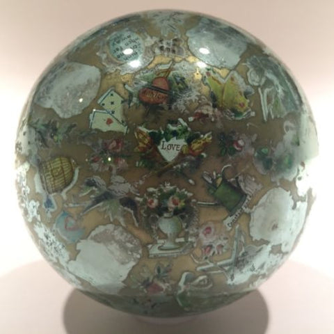 Antique English Green Bottle Glass Paperweight Whimsy Reverse Decoupage