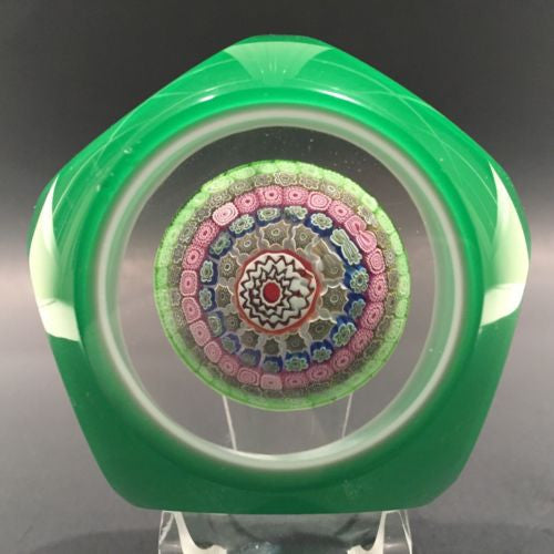 Vintage Murano Art Glass Paperweight Millefiori Faceted Green & White Overlay