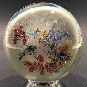 Early Chinese White Ground Art Glass Paperweight Handprint Bird In A Tree