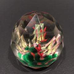 Early 1930's Chinese Faceted Art Glass Paperweight Painted Sulphide Caged Birds
