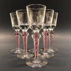 Set Of 6 Antique Art Glass Cordial Wine Glasses W/ Red & White Air Twist Stem