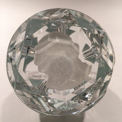 Baccarat Art Glass Paperweight Thomas Paine Sulphide Faceted Double Overlay