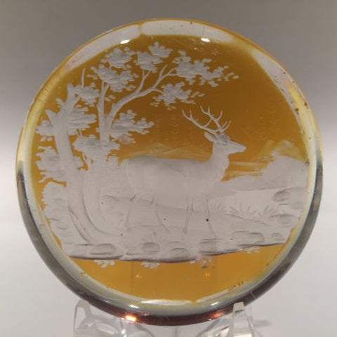 Antique Bohemian Art Glass Paperwieght Engraved Amber Flash Forest Stag