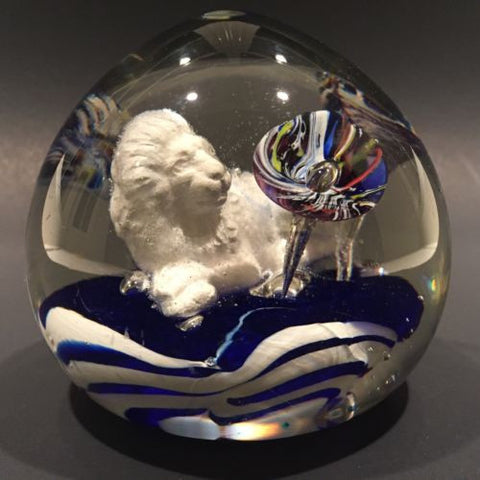 Antique Bohemian Art Glass Paperweight Sulphide Lion With Ice Pick Trumpets