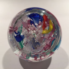 Colorful Murano Art Glass Paperweight Latticino & Ribbon Scramble