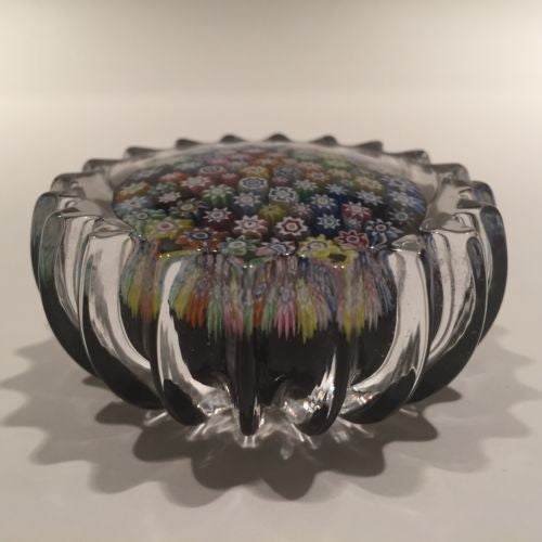Peter Mcdougall Scalloped Art Glass Paperweight Close Packed Millefiori