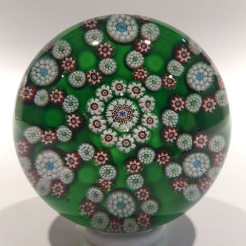 Rare Antique Baccarat Art Glass Paperweight Millefiori Garland on Green Ground
