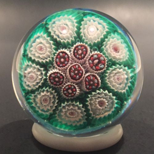 Vintage Murano Miniature Art Glass Paperweight Complex Concentric Millefiori