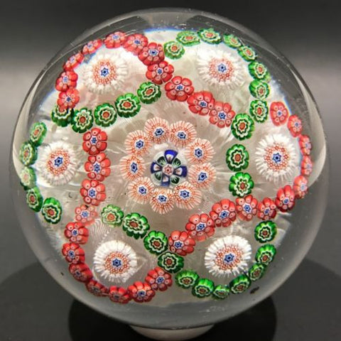 Antique Baccarat Art Glass Paperweight Millefiori Garland on Upset Muslin Lace
