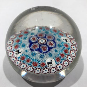 Vintage Murano Fratelli Toso Art Glass Paperweight Millefiori Horse Canes