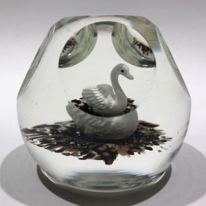 Rare Vintage Murano Faceted Swan Sulphide Art Glass Paperweight