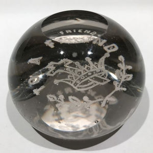 "Antique Millville Art Glass Frit Paperweight ""To A Friend"" Crown with Cross"