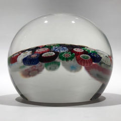 Huge Antique Clichy Art Glass Paperweight Spaced Complex Millefiori w/ Roses