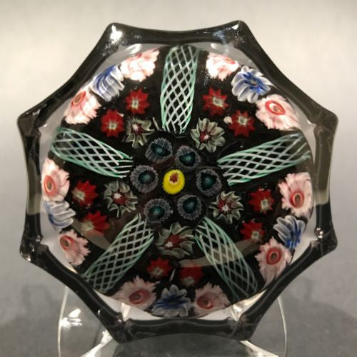 Vintage Strathearn Molded Star Art Glass Paperweight Latticino and Millefiori