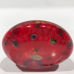 Vintage Chinese Art Glass Paperweight Peacock Complex Millefiori Feathers