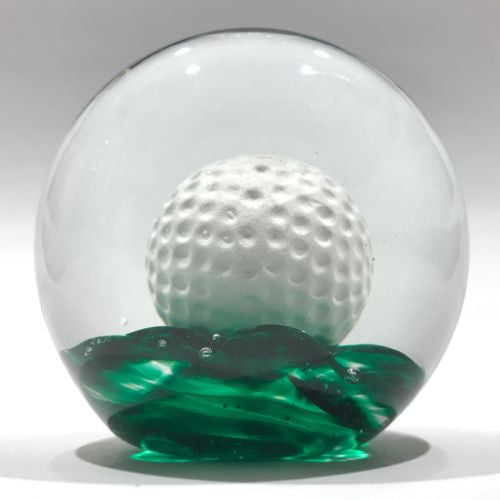 Large Vintage Elwood Ind Art Glass Sulphide Paperweight Golf Ball Green Ground