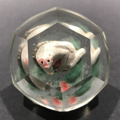 Early Chinese Faceted Art Glass Paperweight Hand Painted Monkey Sulphide