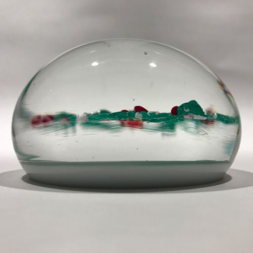 Vintage Murano Art Glass Paperweight Lampworked Cardinal & Winter Holly